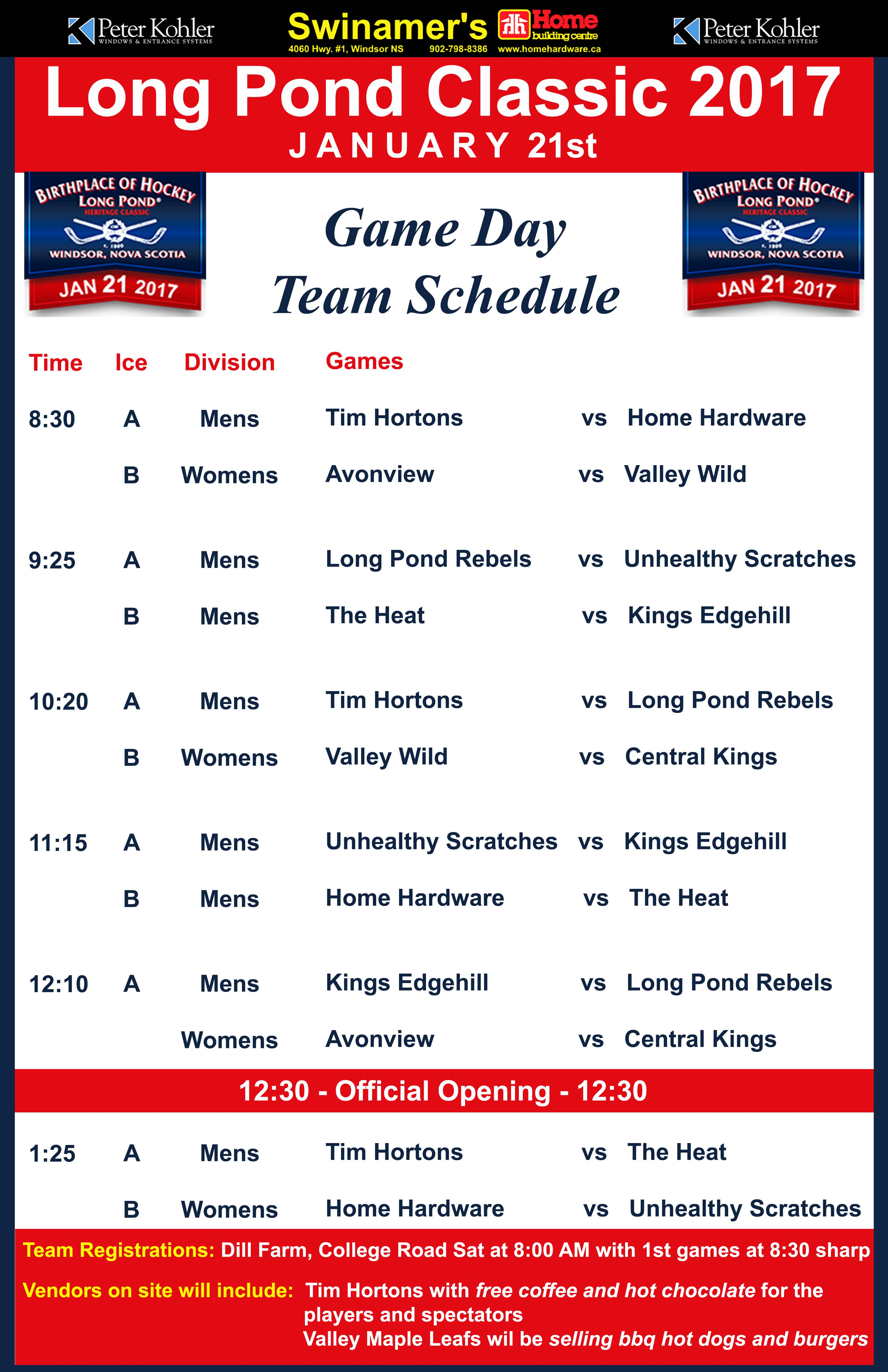 Long Pond Classic 2017 Game Schedule